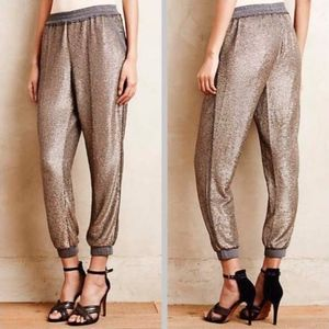 NWOT Anthropologie Gold Sequin Joggers